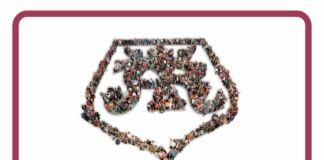Herb miasta jasła utworzony z postaci ludzkich poniżej napis: jasielski budżet obywatelski