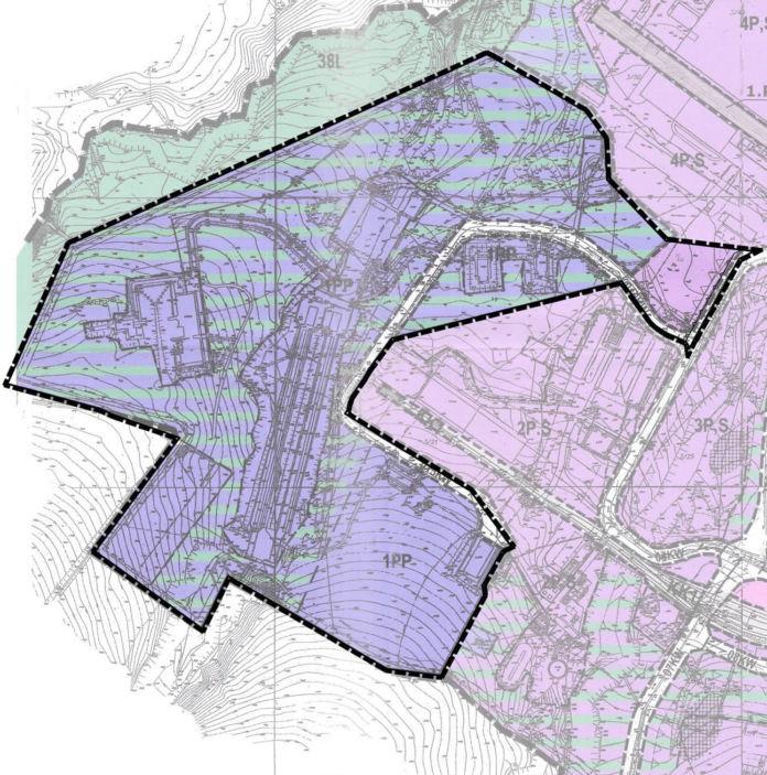 Fragment mapy dotyczącej zmiany miejskiego planu zagospodarowania przestrzennego