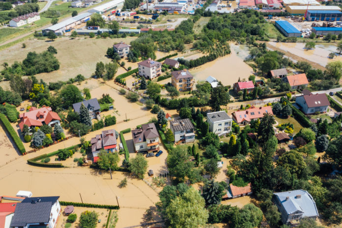 Widok z drona Jasło podtopienia