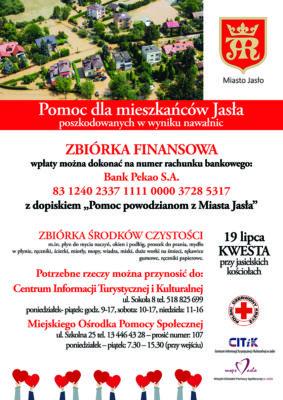 Plakat informacja o prowadzonej zbiórce finansowej -pomoc dla mieszkańców Jasło poszkodowanych przez nawałnice z końca czerwca bieżącego roku