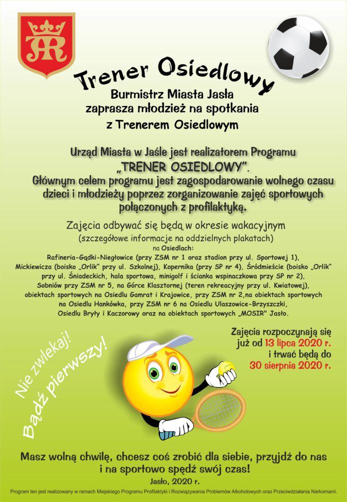 Plakat Trener Osiedlowy, informacja o zajęciach sportowych dla dzieci