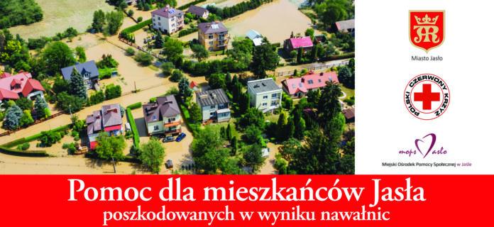 Zalane posesje i budynki mieszkalne w Jaśle podczas nawałnic jakie przeszły przez miasto końcem czerwca 2020 roku