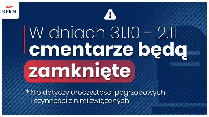 W dniach 31 października do 2 listopada cmentarze będą zamknięte!