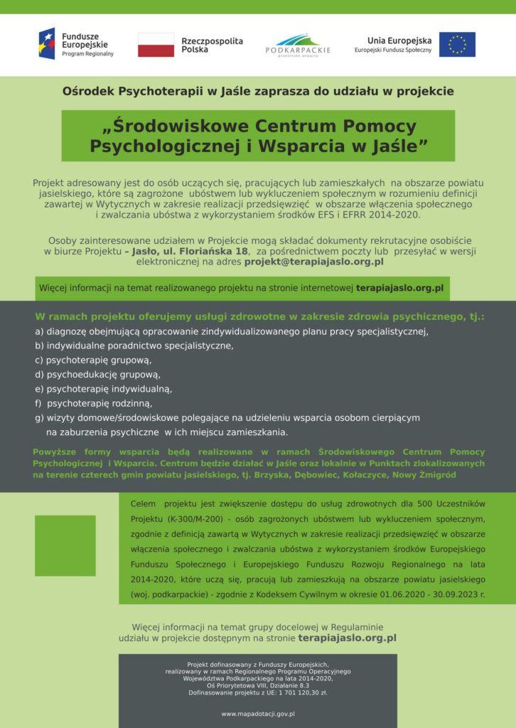Projekt Środowiskowe Centrum Pomocy Psychologicznej i wsparcia w Jaśle - plakat