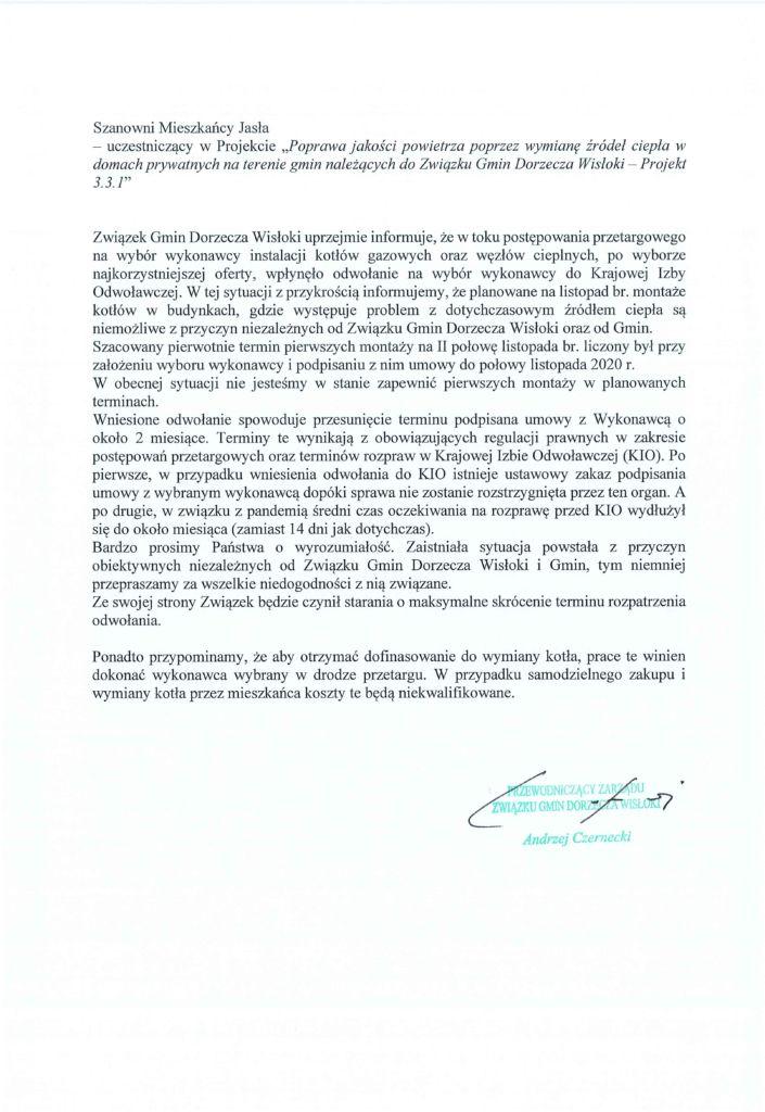 Pismo Związku Gmin Dorzecza Wisłoki w sprawie montażu kotłów gazowych