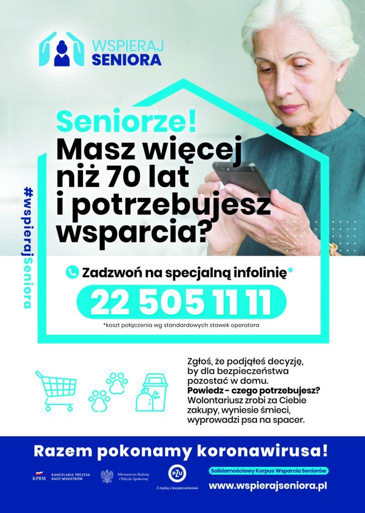 Seniorze! Masz więcej niż 70 lat i potrzebujesz wsparcia? Zadzwoń na infolinię 22 505 11 11
