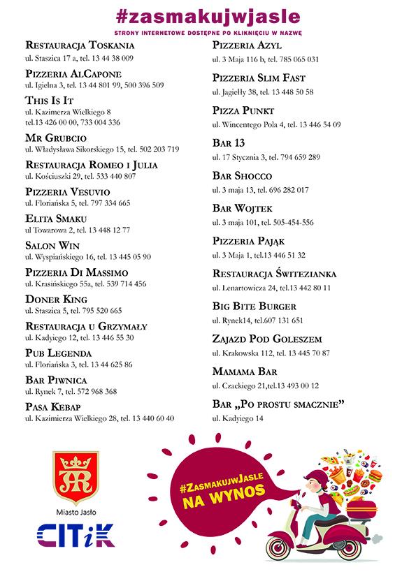 Lista adresów restauracji oferujących dostawę jedzienia