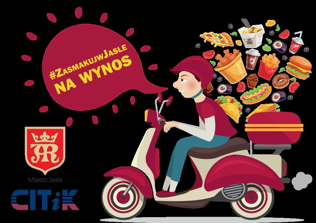 Kobieta na skuterze wypowiadająca hasło #zasmakuj w jaśle, herb jasła i logo centrum informacji turystycznej i kulturalnej w Jaśle