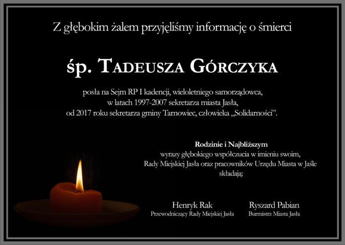 Kondolencje Tadeusz Górczyk