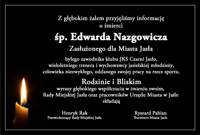 kondolencje Edward Nazgowicz