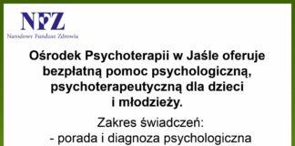 Informacja dotycząca bezpłatnej pomocy psychologicznej, psychoterapeutycznej dla dzieci i młodzieży