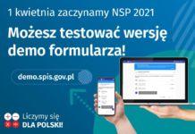 Baner informujący o przygotowanej wersji demo formularza testowego Narodowego Spisu Powszechnego 2021
