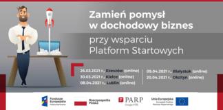 plakat informacyjny o cyklu spotkań on-line o wsparciu Platform Startowych dla startupów, wsparcie Platform Startowych