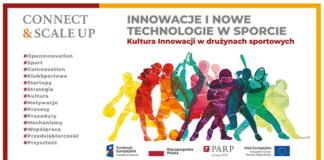 Plakat spotkania Connect & Scale Up Innowacje i nowe technologie w sporcie. Kultura innowacji w drużynach sportowych