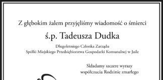 Kondolencje rodzinie świętej pamięci Tadeusza Dudka