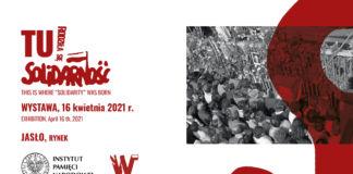 """Baner """"TU rodziła się Solidarność"""" plenerowa wystawa IPN"""