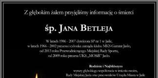 Kondolencje rodzinie śp. Jana Betleja