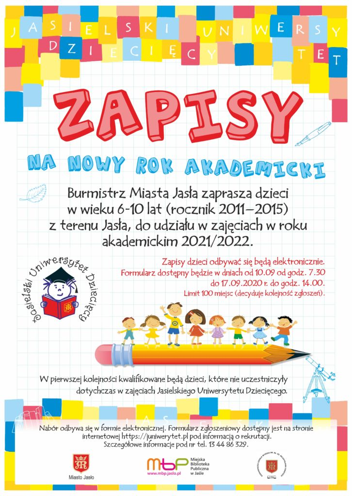 Plakat jasielskiego juniwersytetu dziecięcego